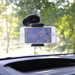 VCE Universal Windshield Mount Holder for Iphone 6/5s/5/4s and Samsung Galaxy S4/s3/s2,note 3,2 (Black HD075)