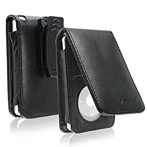 Insten Synethetic Leather Case Compatible With 30 GB iPod Video and 80GB / 120GB Classic with Belt Clip and Strap, Midnight Black