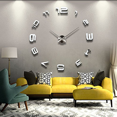 Ships Free From USA Warehouse 3d Large Sliver Modern DIY Home Decor Mirror Wall Clock Sticker