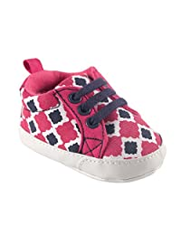 Yoga Sprout Print Canvas Sneaker, Pink Bird, 0-6 Months