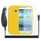 PrimaCase - 3in1 Set für Samsung Galaxy S3 mini i8190 - Gelb TPU Silikon Case + Kfz Ladegerät + x3 Displayschutzfolie