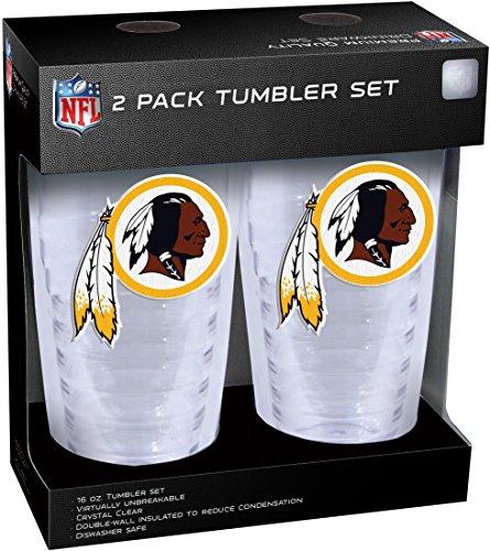 NFL Washington Redskins Slimline Tumber Set with Patch (2-Piece), 16-Ounce, Clear