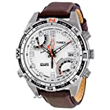 Timex Men&#8217;s T49866DH Intelligent Quartz Fly Back Chrono Compass Silver Case Brown Strap Watch