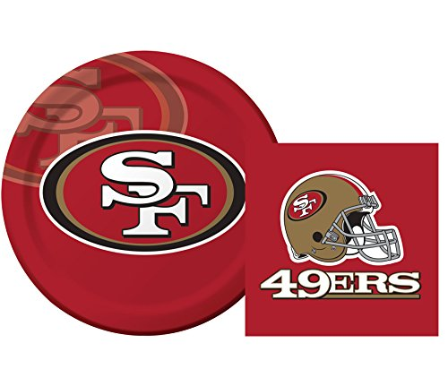 San Francisco 49ers Luncheon Napkins & Plates Party Kit for 8