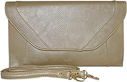 Patzino Fashion Collection, Faux Leather Women\'s Envelope Clutch/ Purse (Flat Gold)
