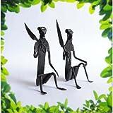 Chinhhari Arts Tribal Wrought Iron Tribal Man ( Black, 10.16 Cm X 2.54 Cm X 3.81 Cm ) - B00JACU7ZM