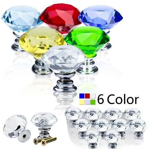 SAVFY® 30mm zinc alloy Diamond Crystal Glass Door Knobs Drawer Cabinet Furniture Kitchen Handle (Red, 4 pcs)