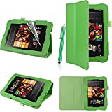 Executive PU Leather Amazon Kindle Fire HD 7 inch 2013 Case Cover Multi Function Standby Bi-Fold Stand with Built-in Magnet for Sleep / Wake Feature + Screen Protector + Capacitive Stylus Pen for New Kindle Fire HD 7-inch 2013 Tablet 16GB or 32GB - Green