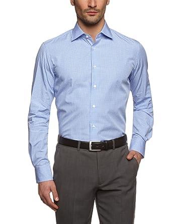 Tommy Hilfiger Tailored Herren Regular Fit Businesshemd Johny SHTCHK99001, Gr. Kragenweite: 37 cm, Blau (013)