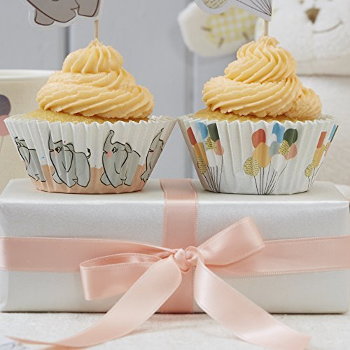 Ginger Ray Little One Vintage Baby Elephant & Pastel Balloons Cupcake Cases, Mixed