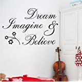 Newsee Decals Dream Imagine Believe Wall Quote Sticker art Decal Vinyl Baby Room Decor Mural (BLACK, 1)