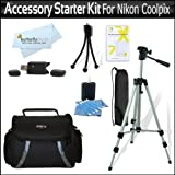Accessory Starter Kit For The Nikon Coolpix L21, L22, L110 L120, L310, L810, L820, L620 L830 Digital Camera Includes Deluxe Carrying Case + 50 Tripod w/Case + USB 2.0 Reader + LCD Screen Protectors + Mini Tripod + Lens Cleaning Kit + MicroFiber Cloth