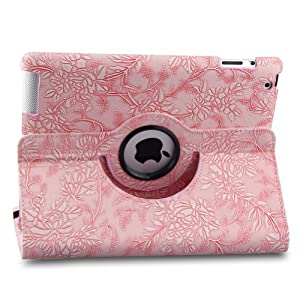 TOPCHANCES Auto Sleep/Wake Function 360 Degree Rotating Smart Case Cover for 7.9 inch Apple iPad Mini/iPad Mini 2 with Retina with a Stylus as a Gift--Floral Pattern,Pink