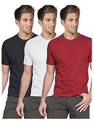 Blackburne Inc Men Round Neck T-shirt Pack Of 3 Black White Red