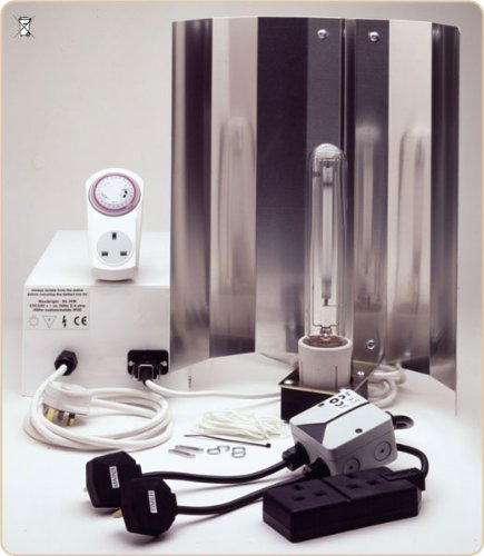Grow Light Standard 400W HPS with remote ballast & contactor relay timer, lamp & reflector