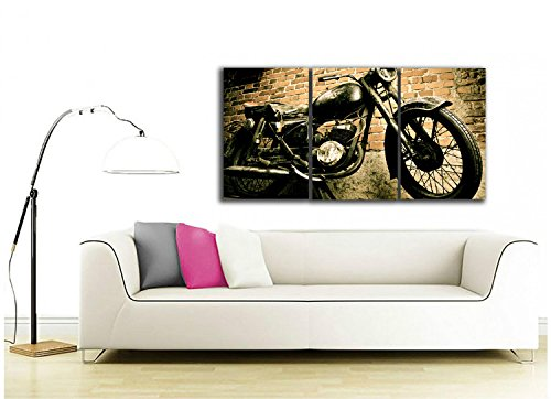 3 Pieces Vintage Motorcycle Wall Art Canvas Picture Print for Decoration, Stretched and Ready to Hang 1