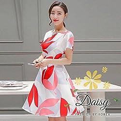 Mahadev Enterprise Spring and Summer Women's Short Sleeve Printing Collar Female Waist Dress
