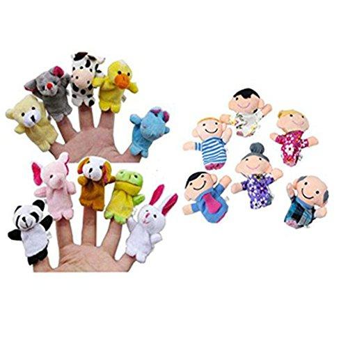 Fortan 16PC Finger Puppets animali Le persone Parenti giocattolo educativo