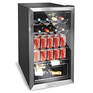 Husky HUS-HM39 Personal Wine Refrigerator/Chiller 150L Chrome Door Effect Black