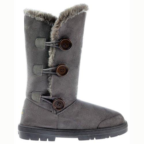 Ella Women's Triple 3 Button Fur Lined Flat Suede Winter Boot