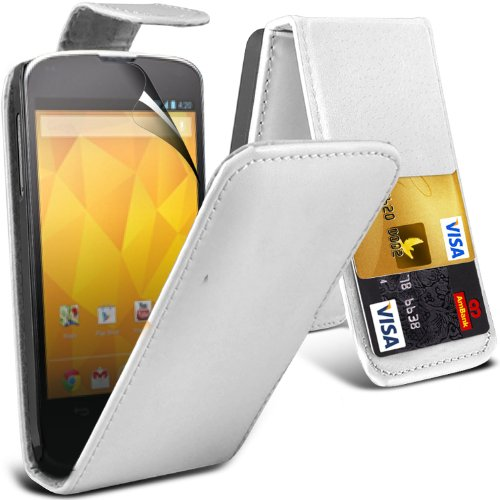 ( White ) Lg Google Nexus 4 E960 Premium Faux Credit / Debit Card Slot Leather Flip Skin Case Cover & Lcd Screen Protector Guard By Fone-Case