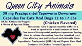 Queen City Animals Chicken Flavored Praziquantel Tapeworm Wormer Capsules For Dogs And Cats 12 &#8211; 17 Pounds. Ten (10) Capsules. The Same Active Ingredient As The Major National Brands! Not For Little Dogs And Cats