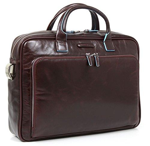 Piquadro Italian Leather Portfolio Briefcase - Dark Brown - Blue Square Collection Ca1906B2