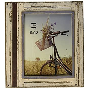 Prinz Rustic River Wood Frame in Distressed White Finish, 8 by 10-Inch