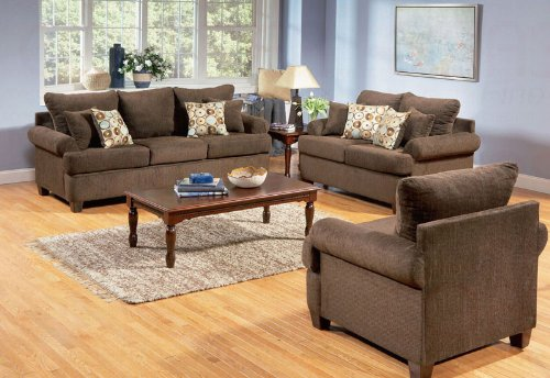 Buy Low Price AtHomeMart 3 Piece Casual Cushion Pillow Back Fabric Sofa, Loveseat, and Chair Set (COAS502171_502172_502173_3PC)