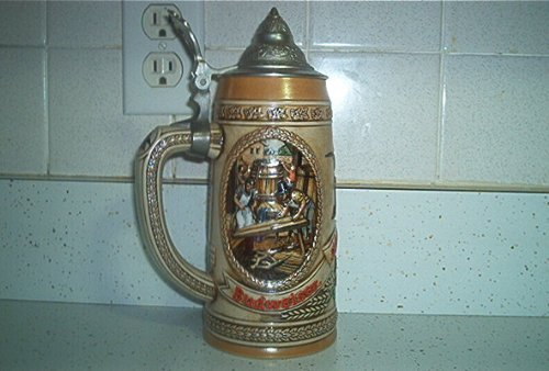 1986 LIDDED BUDWEISER LIMITED EDITION STEIN CS65 - SECOND IN HISTORY OF BREWING SERIES