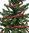 Burgundy Cranberry Color Wooden Bead 9 Foot Christmas Garland