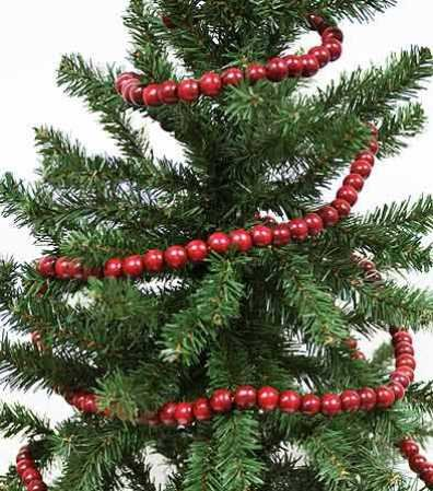 Burgundy Cranberry Color Wooden Bead 9 Foot Christmas Garland - The Look of Strung Cranberries
