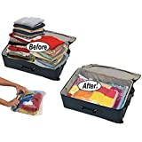 12 High Quality Space Saver Travel Roll-Up Storage Bags (12 pack of Sizes Small to Large) No Vacuum Needed, by EcoGreen Storage