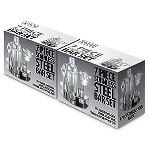 KOVOT 7 Piece Stainless Steel Bar Set - Shaker Strainer Corkscrew Bottle Opener Jigger Ice Tongs and Storage Rack