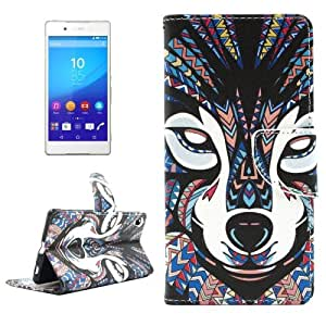 Wolf Pattern Horizontal Flip Cross Texture PU Leather Case with Card Slots & Holder & Wallet for Sony Xperia Z4