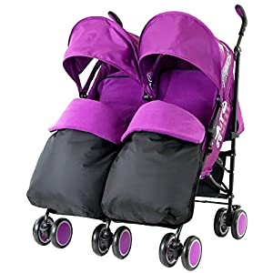 Zeta Citi TWIN Stroller Buggy Pushchair - Plum Double Stroller Complete With FootMuffs And Bag by Baby TravelTM