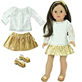 4 Piece Gold and Ivory Outfit, great for mixing and matching items you already own. Set includes lace top, skirt, matching hairpiece and shoes. © 2013 Sophia's- All Rights Reserved. Not affiliated with American Girl®, Reg. Trademark of Americ...