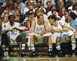 Robert Parish, Larry Bird & Kevin McHale Autographed Boston Celtics 16x20 Photo by DenverAutographs