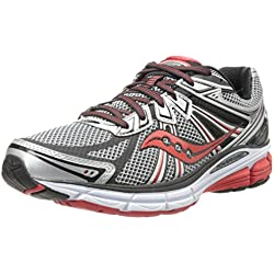 Saucony Men's Omni 13 Running Shoe,Silver/Red/Black,10.5 M US