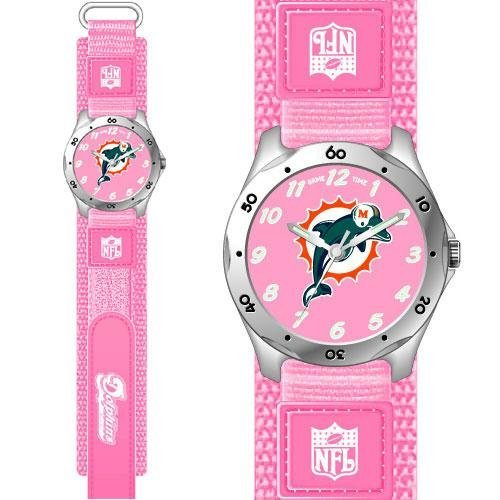 Game Time GTW-NFL-FSP-MIA Miami Dolphins NFL Girls Future Star Series Watch Pink