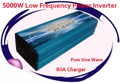 5000 Watt Continual 15000 Watt Surge Low Frequency Pure Sine Wave Power Inverter Converter Transformer 24 V Dc Input / 110 V-120 V Ac Output 60 Hz Frequency With 80A Battery Charger Power Tools