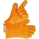 Crenova® 2x Guantes Protección Contra el Calor de Silicona para Parrillas para Asar, Chimenea, Horno de Cocina, Microondas (Naranja)