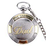 Men Pocket Watch Quartz Analog Rome Numeral Dial Pocket Watch Retro Classic Watch with Hook Chain, Perfect Gifts for Dad