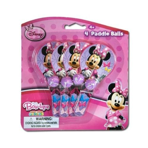 Disney Minnie 4pk Mini Paddle Ball - 1