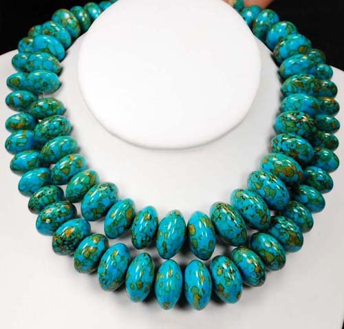 DOUBLE BLUE FIRE TURQUOISE STERLING SILVER NECKLACE N09_1115_46