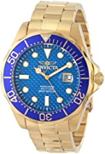 Invicta Pro Diver Men's Quartz Watch with Blue Dial  Analogue display on Gold Stainless Steel Plated Bracelet 14357