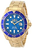Invicta Pro Diver 18K Gold Ion-Plated Watch Men's Quartz Watch with Blue Dial Analogue Display and Gold Stainless Steel Plated Bracelet 14357