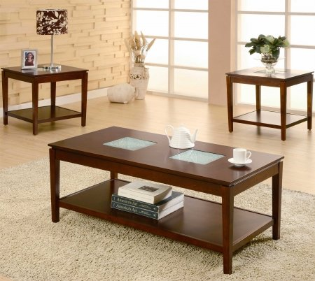 Buy Low Price 701519 Cracked Glass Coffee Table Set by Coaster