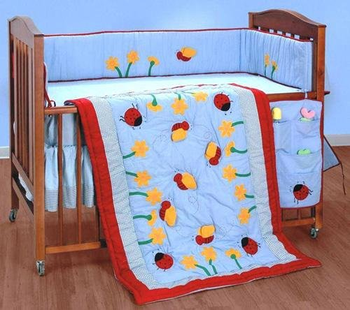 Buzzy Bees 4-Piece Quilted Crib Set (Includes Crib Quilt, Dust Ruffle, Bumper, And Crib Sheet)