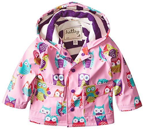 Hatley - Baby Girls Infant Infant Raincoat - Party Owls, Pink, 12 Months back-1076840